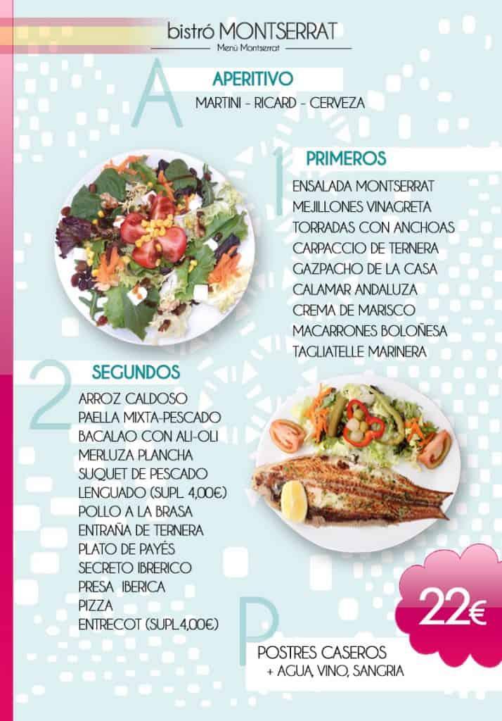 Menú Bistró MONTSERRAT en español